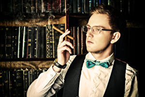 Wallpaper Man Fingers Eyeglasses Cigar Bow tie Book