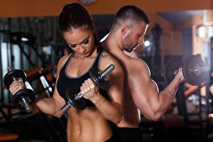 Hintergrundbilder Mann Fitness Hantel Sport Mädchens