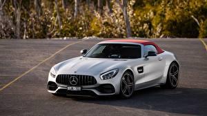 Bilder Mercedes-Benz Silber Farbe Roadster AMG 2018 GT C