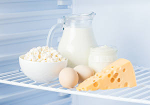 Photo Milk Cheese Quark curd cottage farmer cheese Jug container Eggs Cream Food