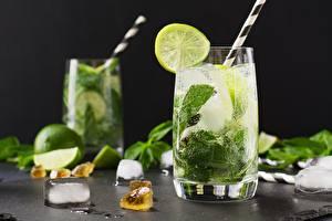 Hintergrundbilder Mojito Limette Trinkglas Eis Minzen Lebensmittel