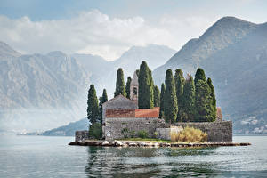 Photo Montenegro Mountains Houses Island Bay Fence Perast Kotor bay Cities
