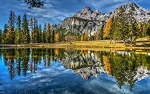 Фото Горы Пейзаж Италия Озеро Отражение Dolomites Lake Antorno Природа
