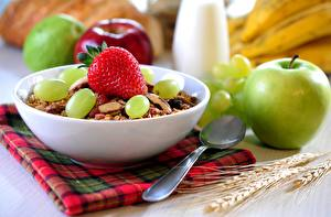 Wallpaper Muesli Apples Strawberry Grapes Breakfast Spoon