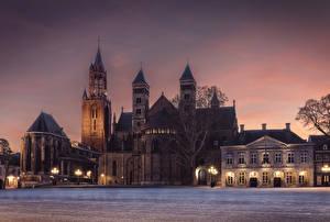 壁纸、、オランダ、寺院、教会堂、夜、街灯、Maastricht、