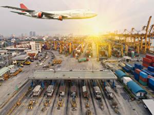 Bilder Flugzeuge Verkehrsflugzeug Städte