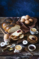 Photo Pastry Coffee Cappuccino Powidl Bread Breakfast Eggs Cup