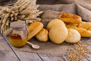 Hintergrundbilder Backware Honig Brötchen Bretter Ähre Weckglas Getreide