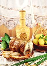 Hintergrundbilder Kartoffel Gemüse Gurke Fische - Lebensmittel Kanne Gardine