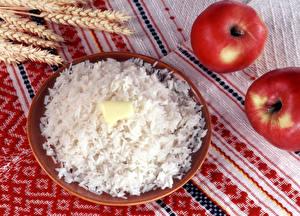 Фотографии Рис Тарелка Масло Продукты питания