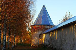 Fotos Russland Herbst Tempel Kloster Birken Kuppel Mozhaysk Städte