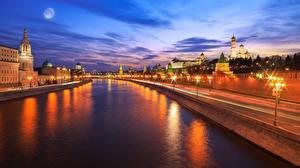 Bilder Russland Moskau Abend Kanal Straßenlaterne Waterfront Städte