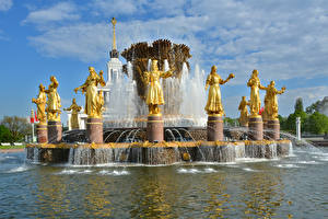 Fonds d'écran Russie Moscou Parc Sculptures Fontaine Fountain Friendship of peoples Villes