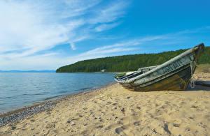 Hintergrundbilder Russland Sibirien See Küste Boot Sand