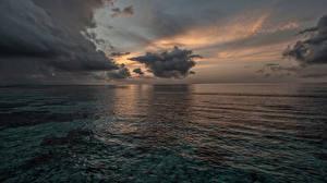 Bilder Meer Sonnenaufgänge und Sonnenuntergänge Wolke