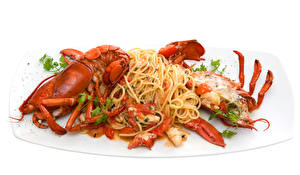 Pictures Seafoods Crayfish White background Pasta