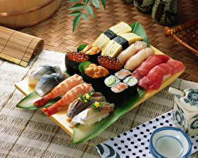Wallpaper Seafoods Sushi Roe Food