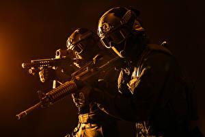 Images Soldier Assault rifle Two Uniform Eyeglasses Helmet military