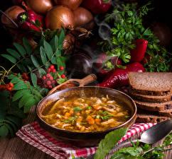 Фотографии Супы Хлеб Перец Тарелка Миска Продукты питания