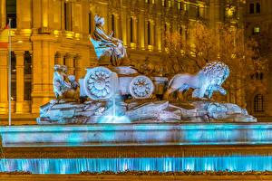 Hintergrundbilder Spanien Madrid Springbrunnen Skulpturen Abend Cibeles Fountain Städte