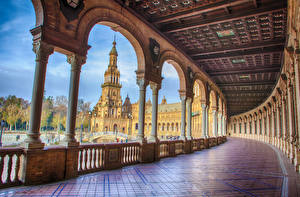 Images Spain Town square Palace Fence Columns Arch Seville Cities