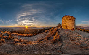 Images Spain Sunrises and sunsets Castle Sun Castell de Torello Nature