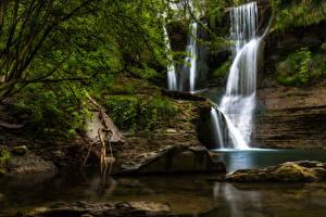 Hintergrundbilder Spanien Wasserfall Felsen Natur