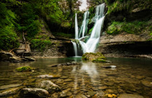 Wallpaper Spain Waterfalls Stones Crag Moss El Sallent Catalonia Nature