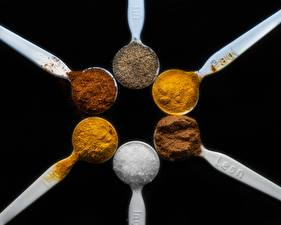 Wallpapers Seasoning Closeup Black background Spoon Salt cinnamon, saffron Kurkuma, Cayenne papper Food