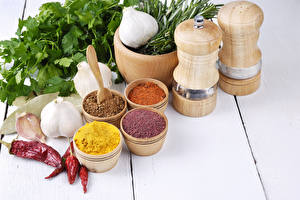 Pictures Spices Allium sativum Chili pepper Vegetables Wood planks Food