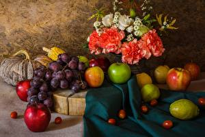 Photo Still-life Grapes Fruit Apples Carnations Food