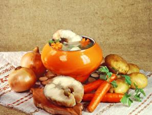 Wallpapers Still-life Vegetables Onion Potato Carrots Fish - Food Food