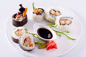 Wallpapers Sushi Roses Seafoods Plate Soya sauce Soy sauce