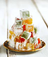 Desktop hintergrundbilder Süßigkeiten Puderzucker Lokum Lebensmittel