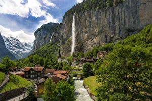 Fonds d'écran Suisse Maison Cascade Rivières Falaise Lauterbrunnen Villes