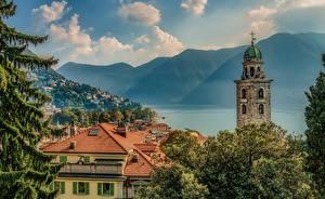 Fotos Schweiz See Gebäude Gebirge Dach Turm Lugano Städte