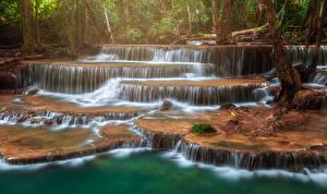 Sfondi desktop Thailandia Parchi Cascata Tropici Huay Mae Khamin Waterfall Natura