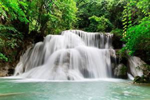 Sfondi desktop Thailandia Tropici Parco Cascata Kanchanaburi Natura