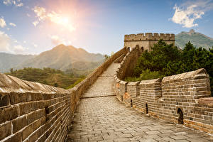 Picture China The Great Wall of China Mountains Wall Cities