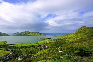壁纸、、熱帯、建物、湾、丘、Christophe Harbour Saint Kitts Caribbean、