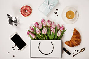 Wallpaper Tulips Handbag Croissant Donuts Coffee Cappuccino Still-life Gray background Smartphone Cup Spoon Present Flowers Food