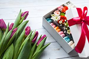 Pictures Tulips Macaron Bow Box Flowers