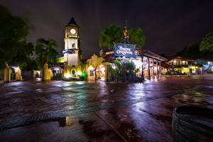 Pictures USA Disneyland Parks Building California Anaheim Night Design HDRI Rays of light Cities