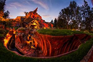 Pictures USA Disneyland Park Houses Evening California HDRI Design Canyons Nature