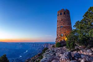 Hintergrundbilder USA Grand Canyon Park Park Leuchtturm Gebirge Morgendämmerung und Sonnenuntergang Natur