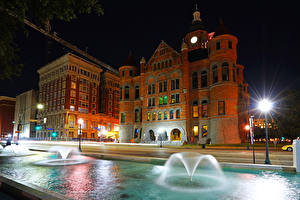 Pictures USA Houses Fountains Museum Night time Street lights Dallas Old Red Museum Cities