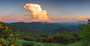 Bilder Vereinigte Staaten Gebirge Wälder Sonnenaufgänge und Sonnenuntergänge Wolke Strauch Avery North Carolina