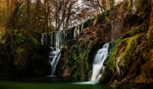 Pictures USA Waterfalls California Rock Moss Trees San Martin Nature