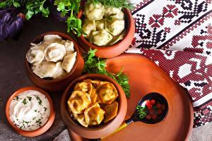 Fotos Gemüse Sauerrahm Wareniki Pelmeni Löffel Lebensmittel