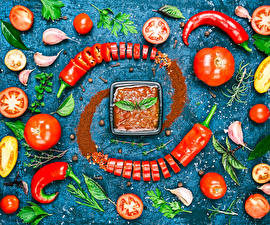 Image Vegetables Tomatoes Allium sativum Chili pepper Ketchup Food